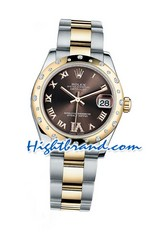 Rolex Replica Datejust Rose Gold Chocolate  Diamonds Swiss Watch 05
