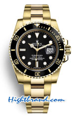 Rolex Submariner Gold Black Dial - Swiss Replica Watch 1